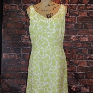 Ann Taylor 100% silk green and cream print dress